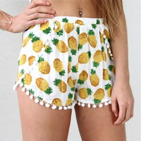 FESTIVAL PINEAPPLE PRINTS POM POM HEM WRAP CROSSOVER BEACH SHORTS 6 8 10 12