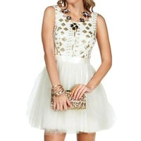 Pre-Order Arabella- IvoryGold Prom Dress