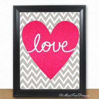 Love Print, Love, Amor, Amour, Chevron Art Print, Love Pink Heart, Personalized Art, Gray Chevron Pattern, Buy TWO Get ONE FREE, Unframed