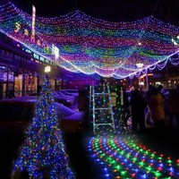 Sunweb Christmas Decorations 100 LED Net Mesh Fairy Lights Twinkle Lighting US 110V Colorful
