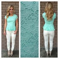Mint Lace Peplum Top