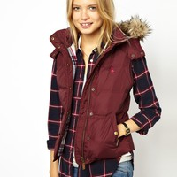 Jack Wills Gilet With Faux Fur Trimmed Hood