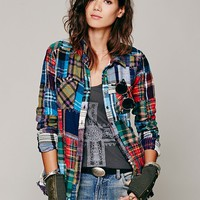 Patched Plaid Buttondown