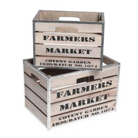 Set Of 2 Wooden Market Crates