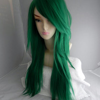 HAPPY HOLIDAYS SALE / Christmas Tree Green / Long Straight Layered Wig - Thick Beautiful Lushious Hair