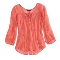 AE SMOCKED CHIFFON PEASANT TOP