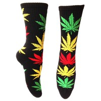 Huf Plant Life Crew Socks - Black with Red / Yellow / Green Leaves (Rasta)