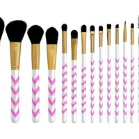 15 Pc Professional Makeup Brushes Set, Pink Chevron Design, Vegan Cosmetic Brush Set + Bonus Cosmetic Brush Pouch by Altair Beauty. Features: Powder Brush, Contour Brush, Blending Brush, Foundation Brush, Concealer Brush, Eyeshadow Brushes + More. Perfect