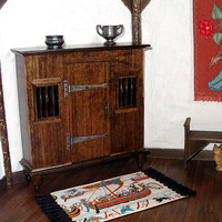 Medieval Livery Cupboard, Rustic Dollhouse Miniature 1/12 Scale, Hand Made in the USA