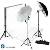 Limostudio 700W Photography Light Photo Video Studio Umbrella Lighting Kit, 10 x 10 ft. Studio backdrops Backgrounds Support kit, AGG711
