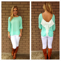 Mint & White Bow Back 3/4 Sleeve Blouse