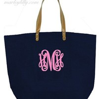 Monogrammed Navy Large Jute Bag
