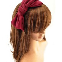 Promithi Cute Oversized Satin Double Bow Hair Bands Korean Style Headband Alice Hairband