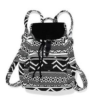Victoria's Secret PINK Black & White Aztec Mini Backpack Book Bag School Bag~ Sold Out