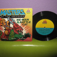 "Vinyl Record Album Masters of the Universe He-Man & Battle Cat 7"" 1983 Children's Classics Stories"