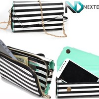 LG Optimus G E970 [Black and White | Light Turquoise] Smartphone Wristlet with Shoulder Strap + NextDia Cable Strap