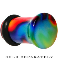 4 Gauge Acrylic Single Flare Tie Die Rainbow Plug | Body Candy Body Jewelry