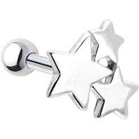 Silver 925 Star Cluster Cartilage Earring