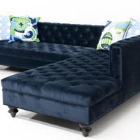 hollywood sectional in navy velvet