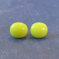 Yellow Earrings, Pierced Post Earings, Hypoallergenic, Fused Glass Jewelry - Sunny - 2122 -3