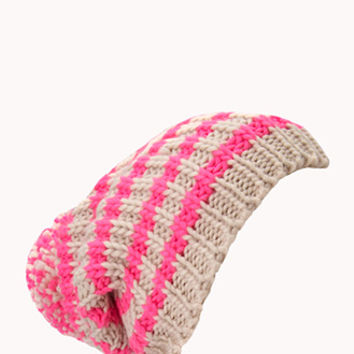 Warm Striped Pom Pom Beanie