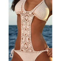 Fashion sexy crochet handmade swimwear  white pink by MyGoldHome