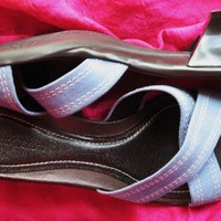 ANN TAYLOR SHOES BLUE SUEDE/LEATHER SLIDES !S 8M/38,5  MADE IN BRAZIL!