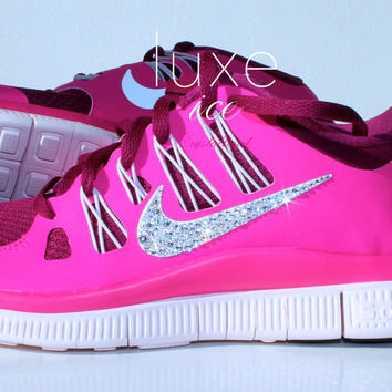 NIKE run free 5.0 running shoes w/Swarovski Crystals detail - Pink