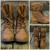 Sidehill Cabin Cognac Brown Combat Boots