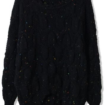 Black Cable Knit Asymmetric Sweater with All Over Dots