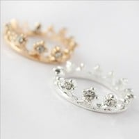 Lovely Cute Crystal Rhinestone Ring Crown