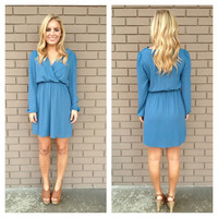 Blue Long Sleeve Chiffon Dress