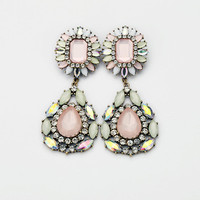 Pink Crystal Rhinestone Flower Drop Pendant Statement Stud Earrings,Large Exaggerate Elegant Chunky Dangle Wedding Fashion Jewelry