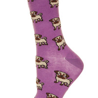 Lavender All Over Pug Socks