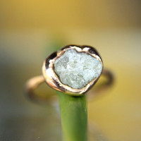 Silvery-White Raw / Rough Diamond In Recycled 14K Rose Gold Nugget Engagement Ring - Ready To Ship