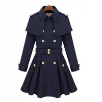 Military Uniform Style Coat with Belt