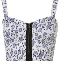 Floral Zip Bralet - Jersey Tops  - Apparel  - Topshop USA