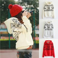 Fawn Hooded Fleece Sweater