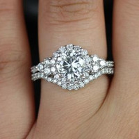 Amora Version 2013 14kt Round FB Moissanite and Diamonds Halo Heart Shape Sides Wedding Set (Other metals and stone options available)