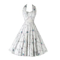 Vintage 1950's Miami Guild Rhinestone Butterfly Halter Dress