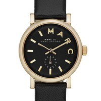 MARC BY MARC JACOBS 'Baker' Round Leather Strap Watch, 28mm