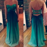 Custom Made Green Ombre Chiffon Sweetheart Bridesmaids Dress Prom Open Back Sexy Prom Dress,Evening Dress