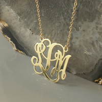 Gold Monogrammed Necklace - Personalized Pendant - 1 '' Wide 18k Yellow Gold Plated