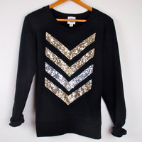 "The ""Dazzle Me Chevron"" Sweatshirt w/ Sequin Chevron/Arrow Design Shirt"
