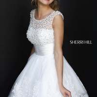 Beaded Scoop Neckline Dress by Sherri Hill