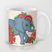Little Blue Elephant in her secret garden Mug by micklyn