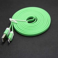 3M 10ft USB Flat Noodle Sync Cable with Wall Charger for iPhone 5 iPad 4 (Green)