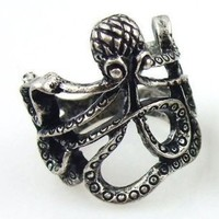 Fashion Lovely Ancient Nickel Octopus Ring - Size 5