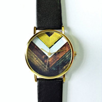 Wood Chevron Watch, Vintage Style Leather Watch, Women Watches, Unisex Watch, Boyfriend Watch, Black,