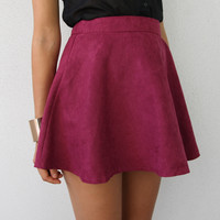 FESTIVAL FAUX SUEDE PASTEL BURGUNDY HIGH WAISTED CIRCLE SKATER SKIRT 6 8 10 12